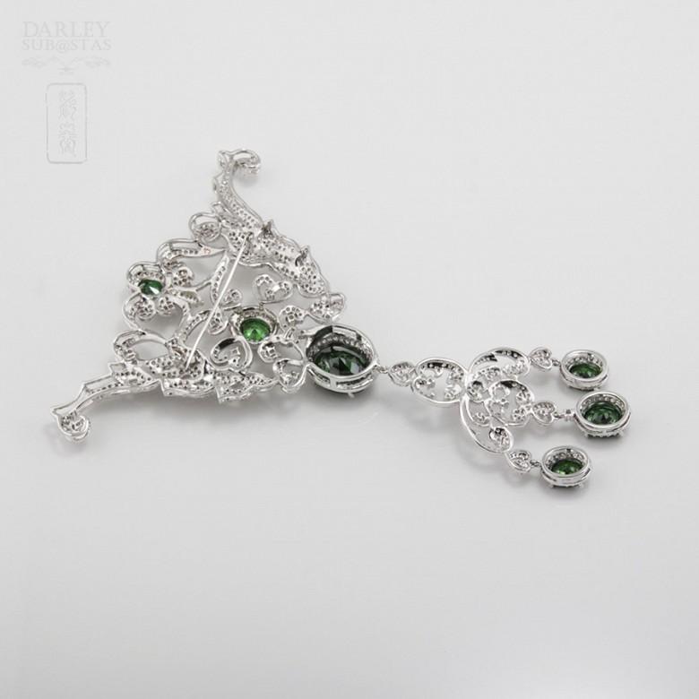 Aderezo de Fallera verde Esmeralda y plata Rodiado - 8