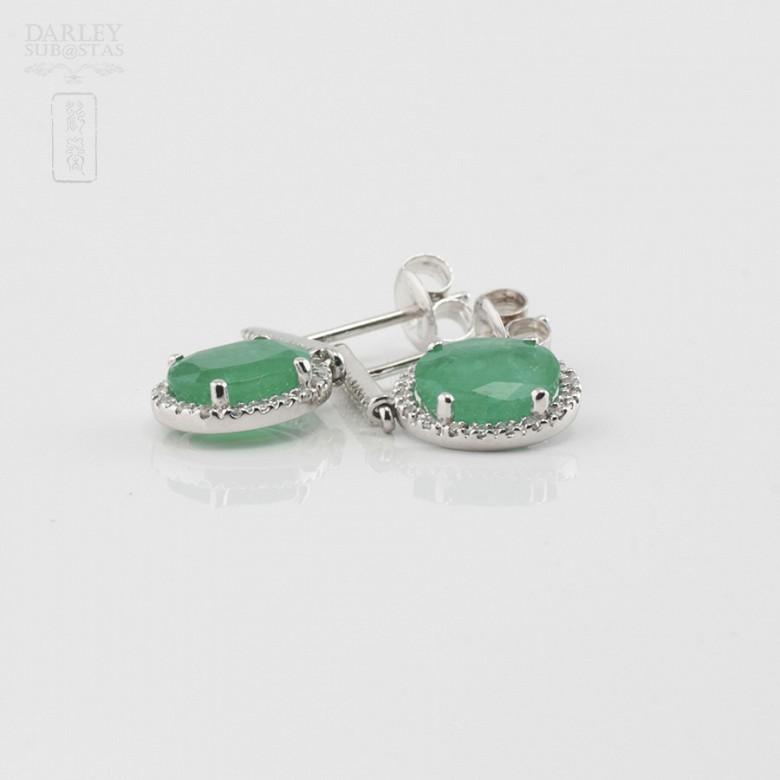Bonitos pendientes diamantes y esmeralda - 1