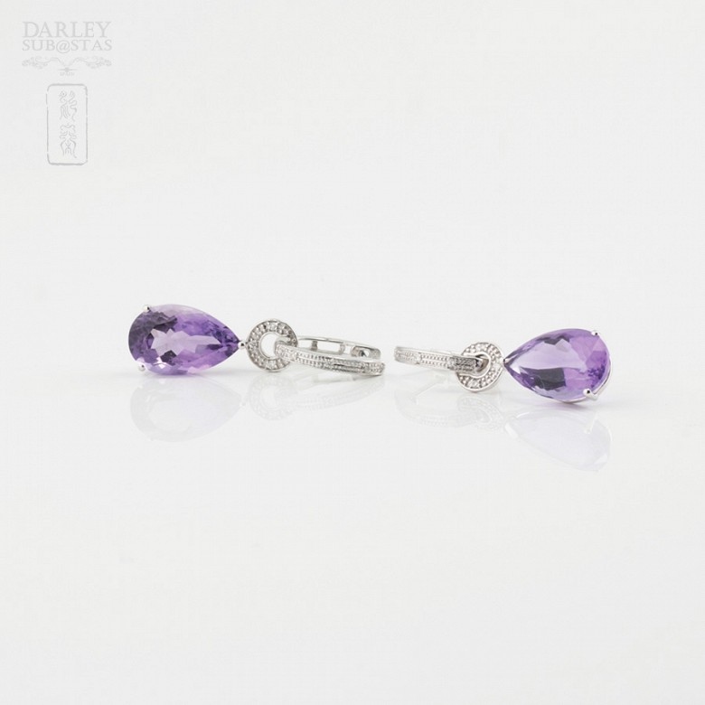 Amethyst and diamond earrings detachable - 1