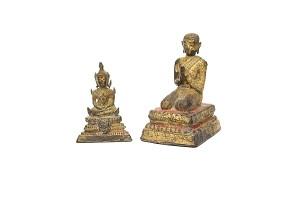 Lote de budas tailandeses de bronce, s.XIX
