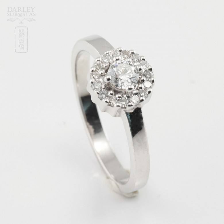 Rose 18k white gold and diamond ring 0.37cts - 1