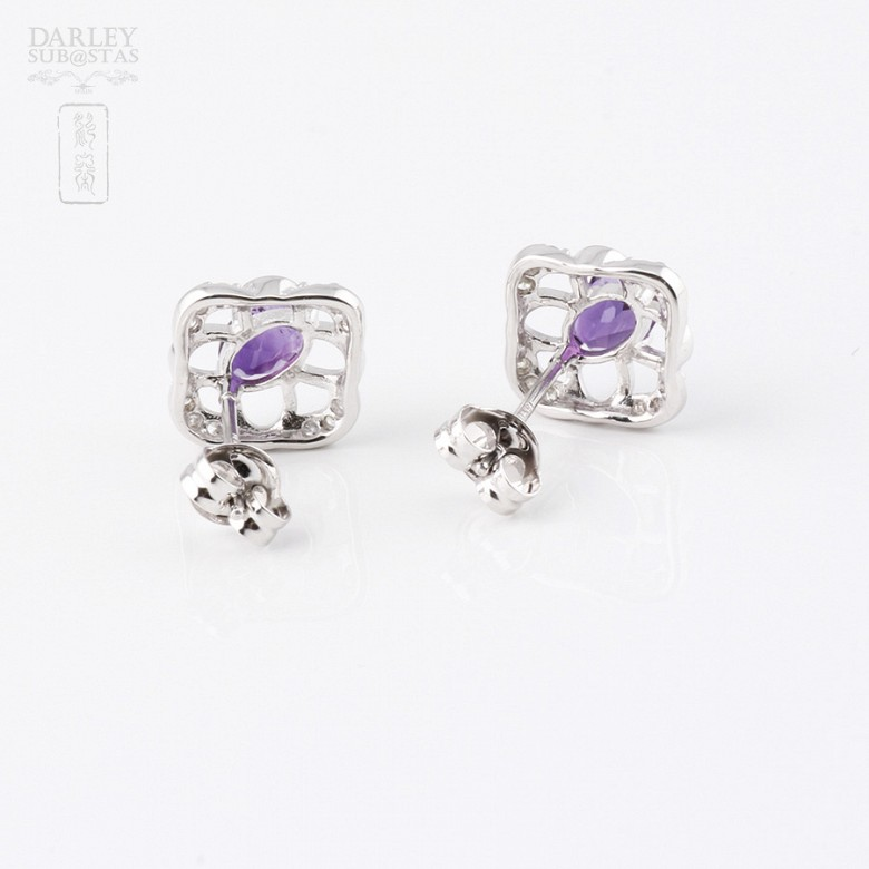 Earrings in 18k white gold with 0.98cts  amethyst and diamonds - 1