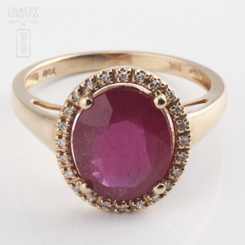 Ring with ruby 3.24cts and diamonds in 18k rose gold - 4