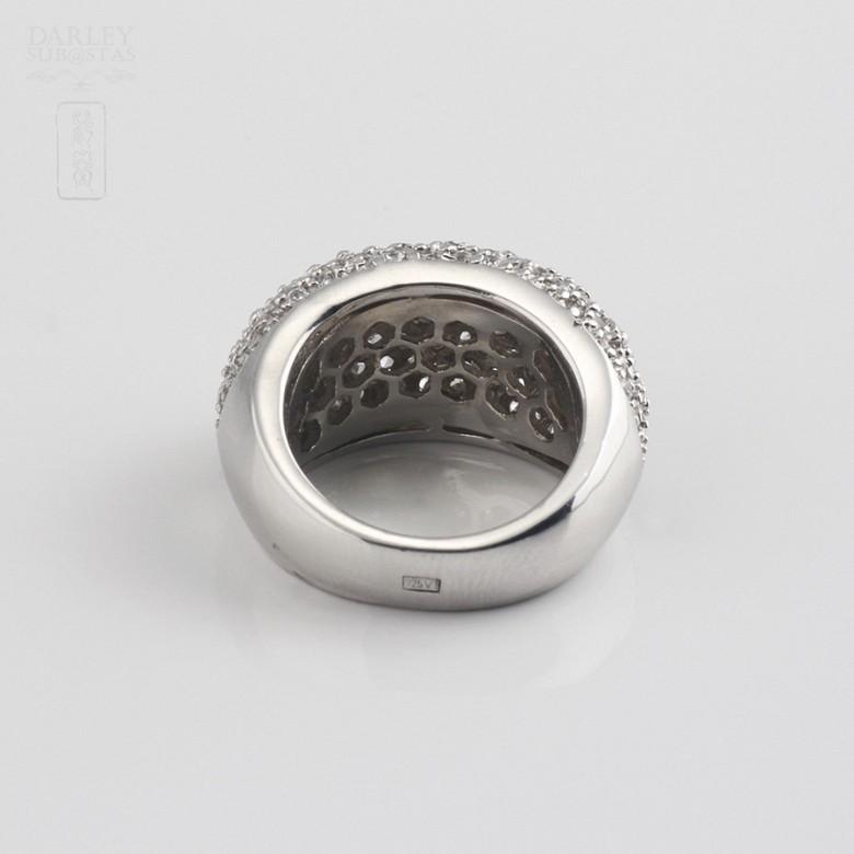 Anillo con  circonitas en plata de ley, 925 - 2