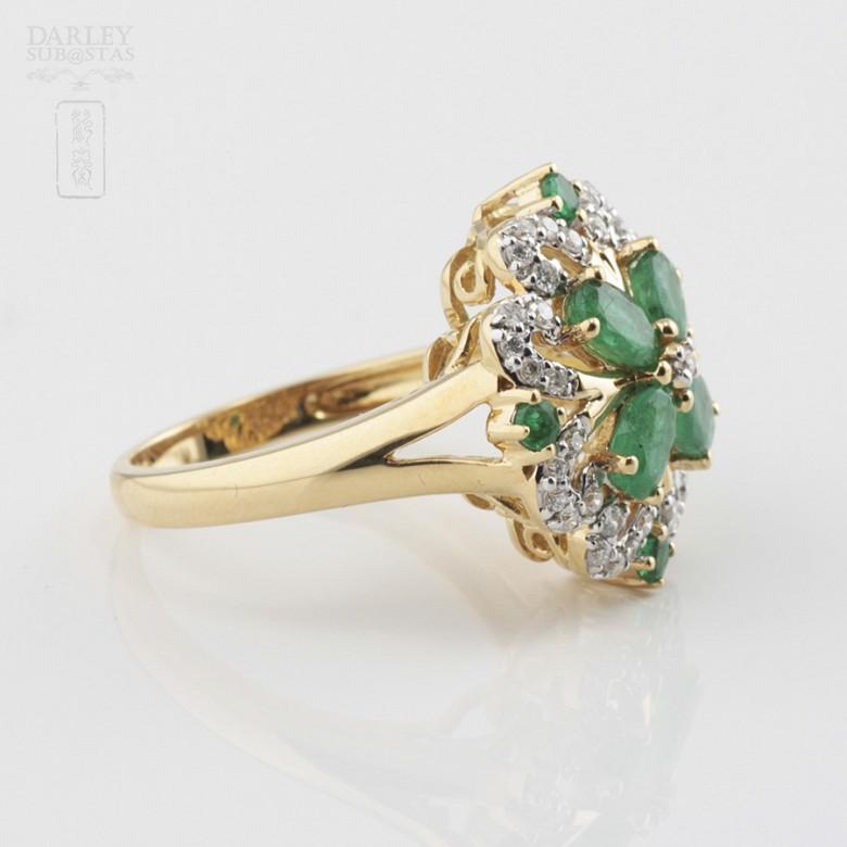 Fantástico anillo Esmeraldas y Diamantes - 1