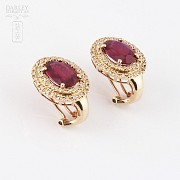 Earrings  5.11 cts ruby and diamond in 18k rose Gold - 3