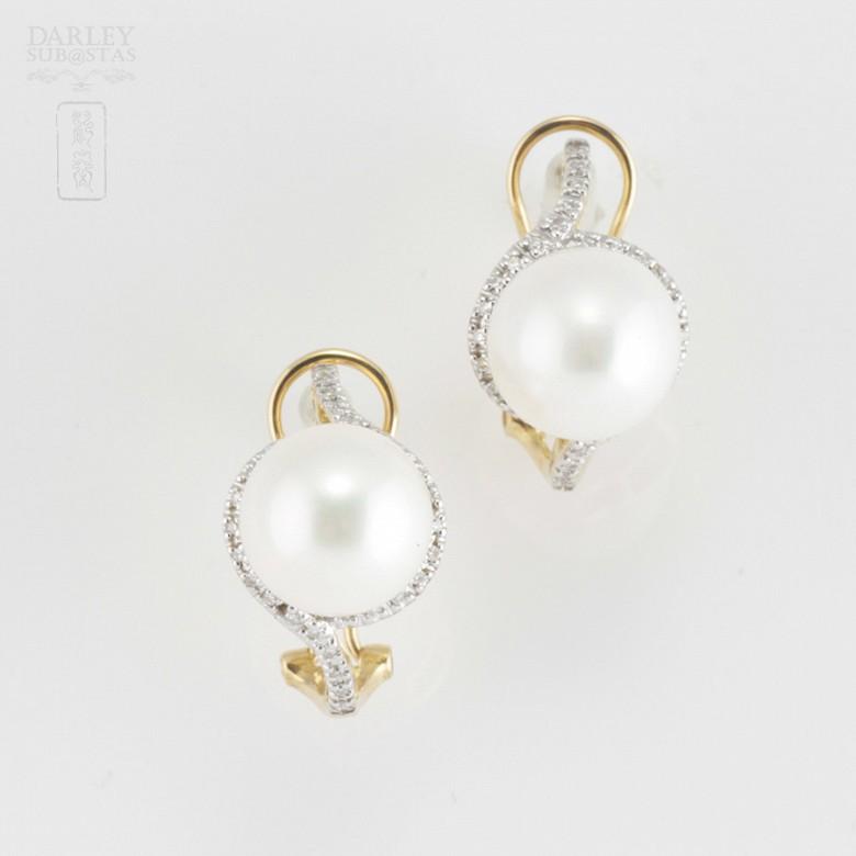 Preciosos pendientes perla y diamantes - 1