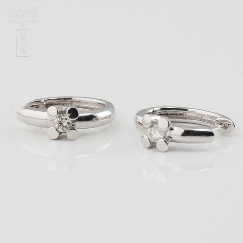 Pair of earrings in 18k white gold and diamonds - 1