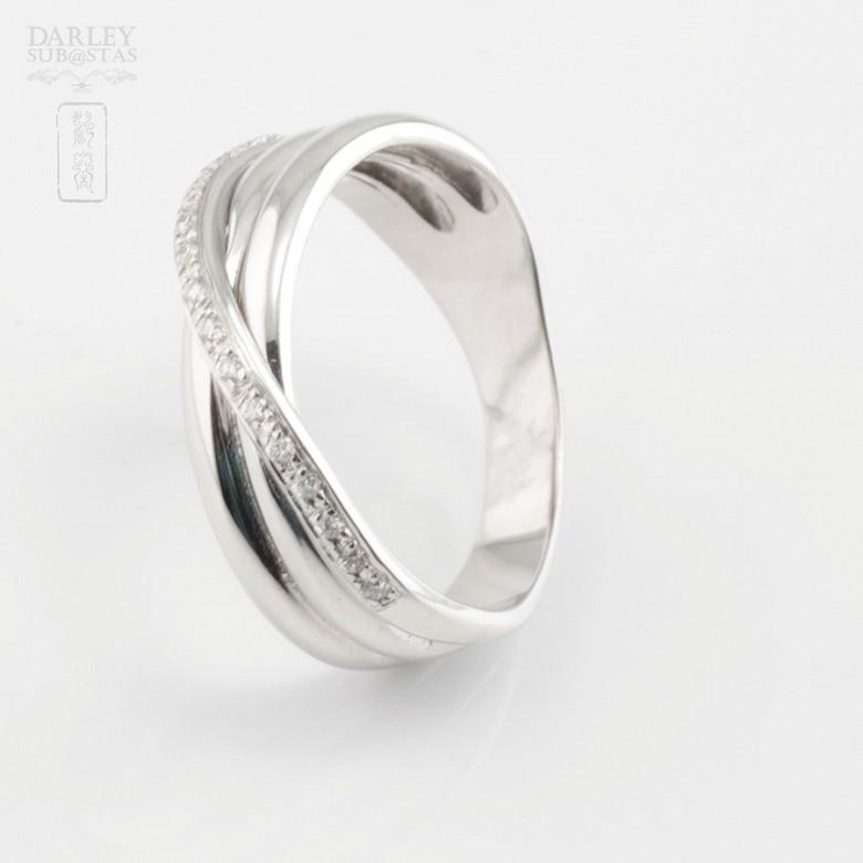 Precioso anillo oro blanco 18k y 0.14cts diamantes - 2