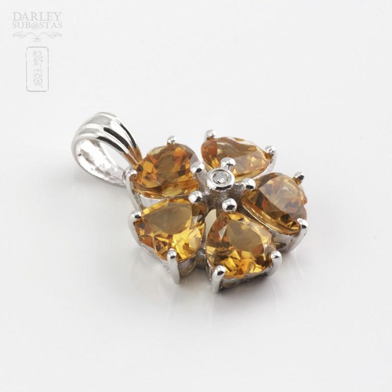 14K白金吊咀镶钻石及2.10克拉天然黄晶石 - 3