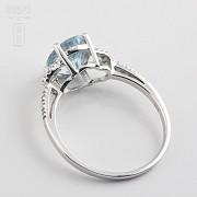 1.60克拉海蓝宝石配钻石18K白金戒指 - 1