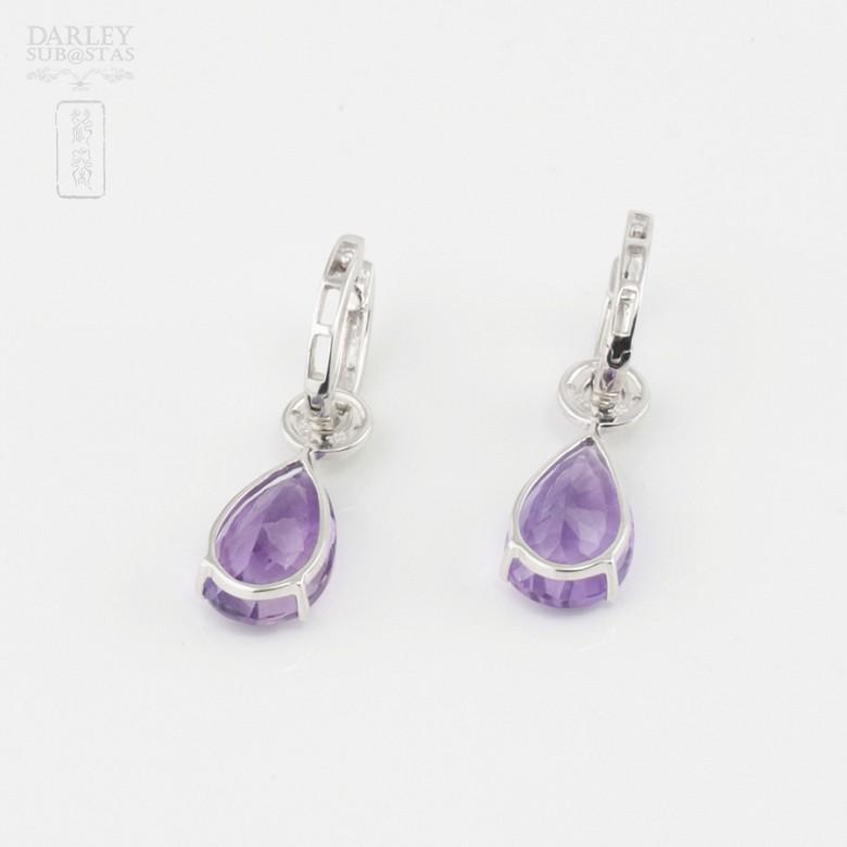 Amethyst and diamond earrings detachable - 3