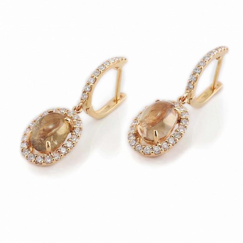 Pendientes en oro amarillo 18k con turmalinas y diamantes.