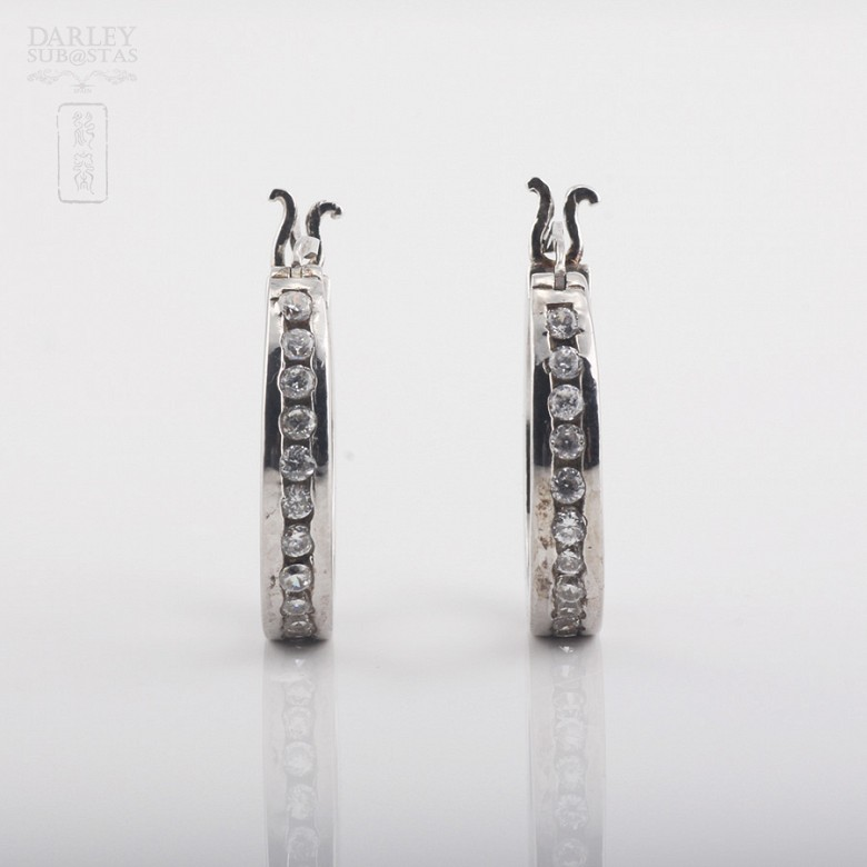 Rhodium silver earrings with cubic zirconia - 4