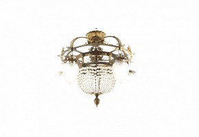 Golden metal and glass ceiling lamp