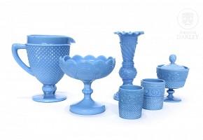 Lot of blue opaline molded glass, ca.1900