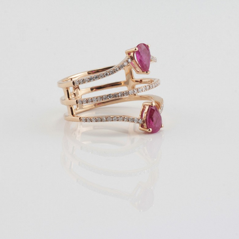 Precioso anillo oro rosa 18k, rubí y diamantes - 2