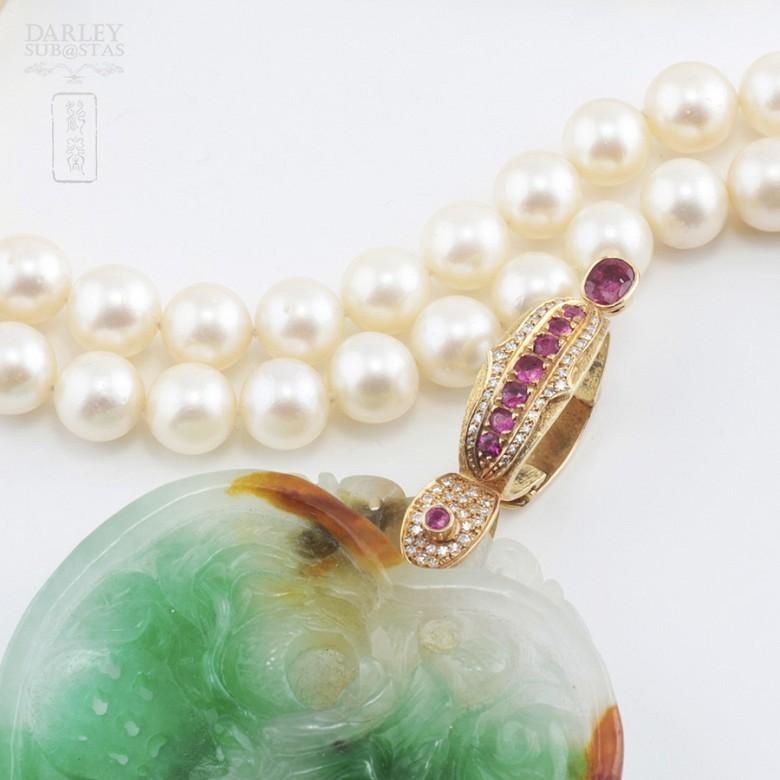 日本海珠挂玉牌镶红宝钻石项链 - 1