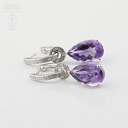 Amethyst and diamond earrings detachable - 4