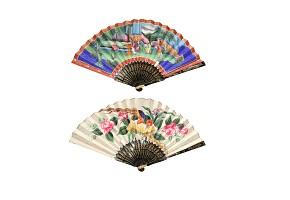Abanico con país de papel pintado, China, s.XIX