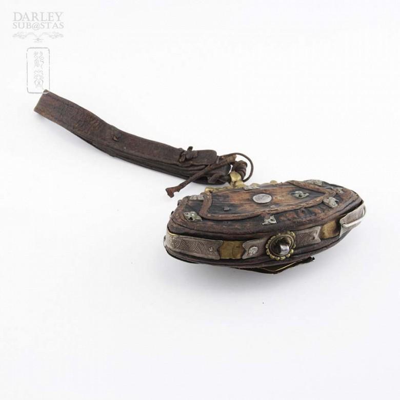 十九世紀 西藏银镶松石小皮挎包 - 4