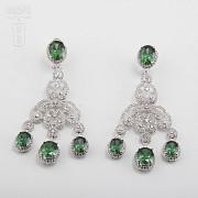 Aderezo de Fallera verde Esmeralda y plata Rodiado - 2