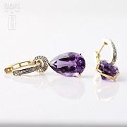 12.67克拉天然紫晶配钻石18K黄金耳环 - 2