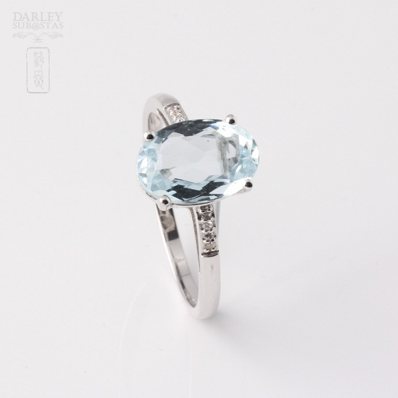 Ring in 18k white gold with  2.18cts Aquamarine  and diamonds - 4