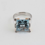 Bicolor ring in pink and white gold, topaz 9.55cts diamonds - 1