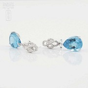 Beautiful blue topaz and diamond earrings - 2