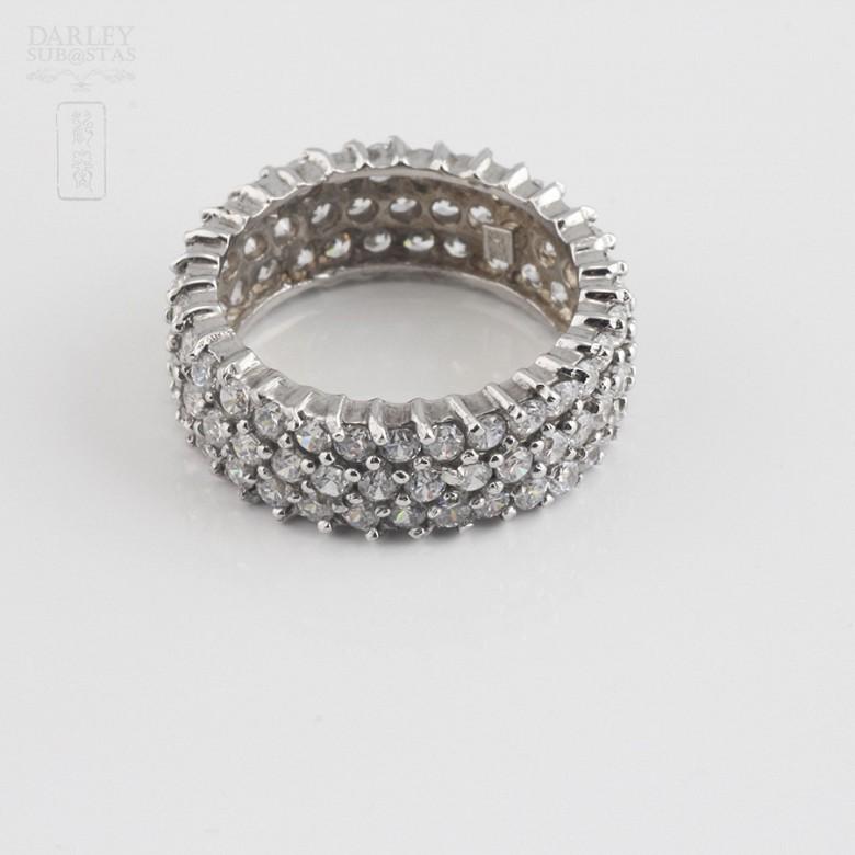 Bonito anillo en plata-rodio y circonitas - 1
