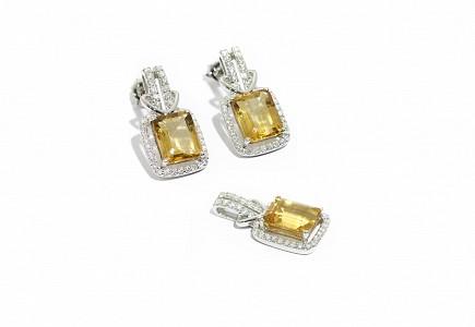 Juego en oro blanco de 18k citrinos y diamantes