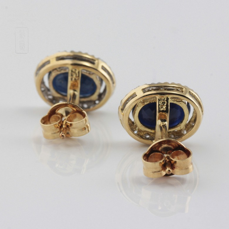 18K黄金镶蓝宝石配钻石耳环 - 4