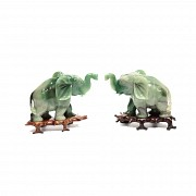 Pair of possible jade elephants on base