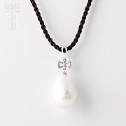奇型白珍珠配钻石18K白金吊坠 - 3