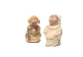 Monkey shaped polycromed figure