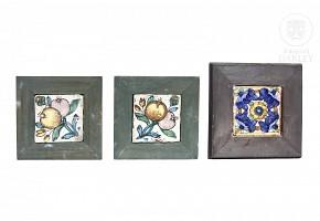 Three Valencian glazed ceramic tiles, 18th c.