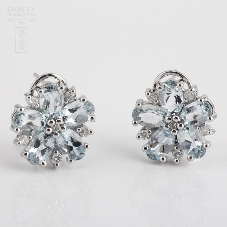 4.01克拉海蓝宝石配钻石18K白金耳环 - 2