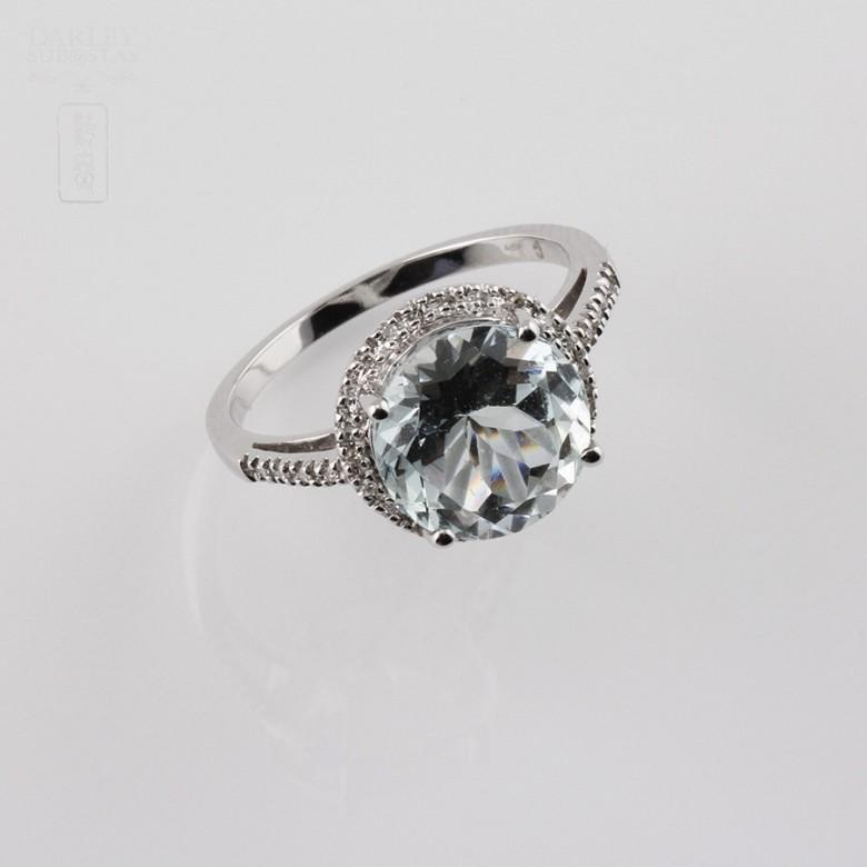 Anillo con Aguamarina 3.14cts  y diamantes  de 18k - 2