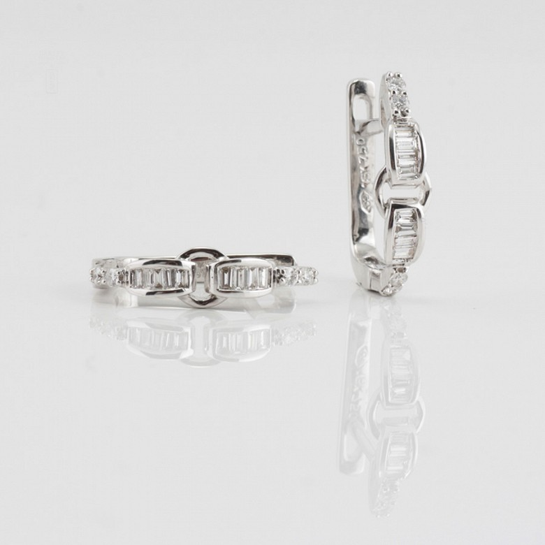 Pendientes oro blanco y diamantes 0.28cts - 4