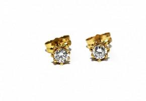 Dormilonas en oro amarillo de 18k con diamantes