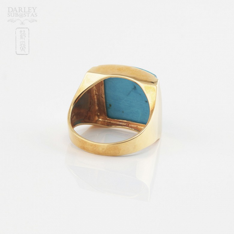18k yellow gold and natural turquoise ring - 3