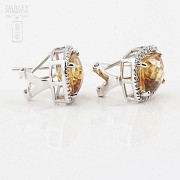 Beautiful earrings in 18k white gold with diamonds and citrine - 2
