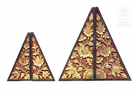 Cuatro piezas para esquinas, decorativas, Peranakan, s.XX