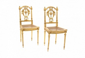 Pair of golden wood chairs and Louis XVI style grille seat,