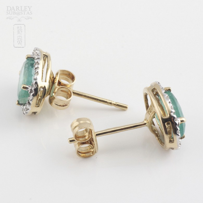 18k yellow gold, emerald and diamond earrings - 3