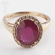 3.24克拉天然红宝石配钻石18K玫瑰金戒指 - 4