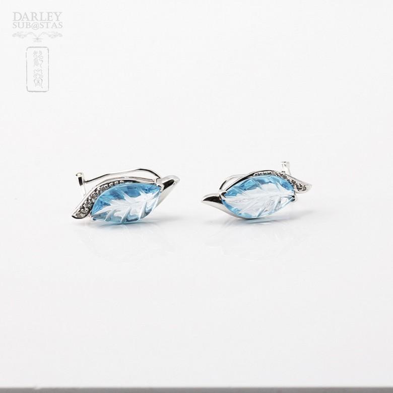 6.67克拉天然蓝晶配钻石8K白金耳环 - 1