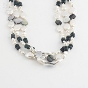 Necklace with pearls and semi-precious gems in sterling silver, 925 - 1