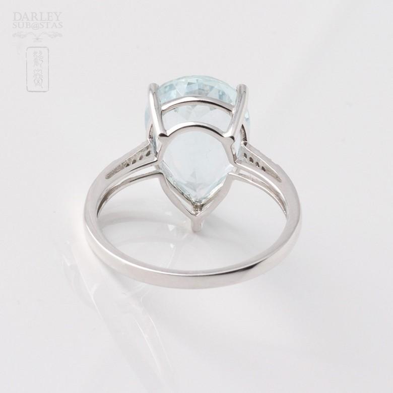 4.19克拉海蓝宝石配钻石18K白金戒指 - 1